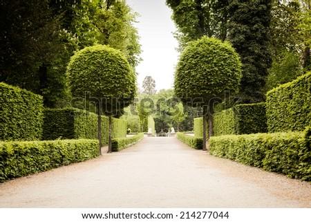 Green European park landscape design - stock photo