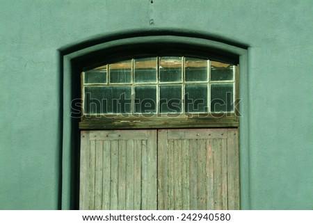 Green exit doors in Australia. - stock photo