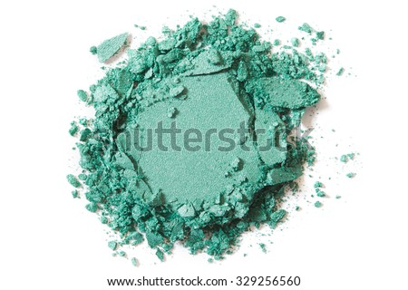 Green eye shadow crushed cosmetic isolated on white background - stock photo