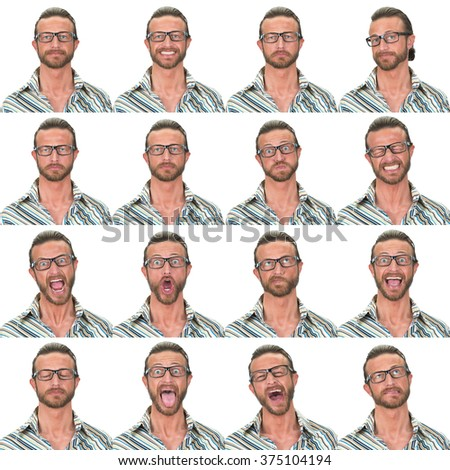 green eyes with glasses adult caucasian man collection set of face expression like happy, sad, angry, surprise, yawn isolated on white - stock photo