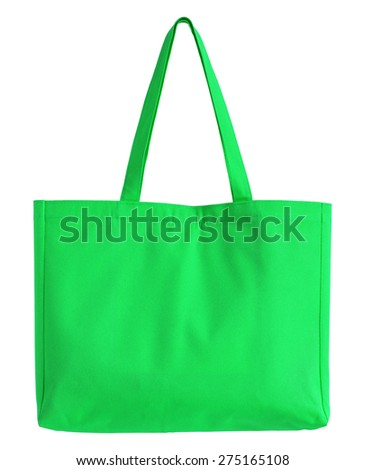 green fabric bag isolated on white with clipping path - stock photo