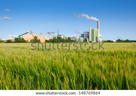 Green factory - stock photo