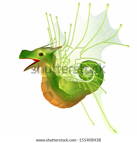 Green Faerie Dragon - A creature of myth and fantasy the dragon is a friendly animal with horns and wings. - stock photo