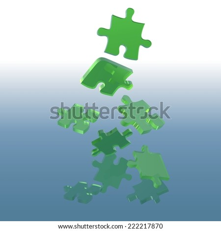 Green Falling Puzzle - Colored Background Illustration - stock photo