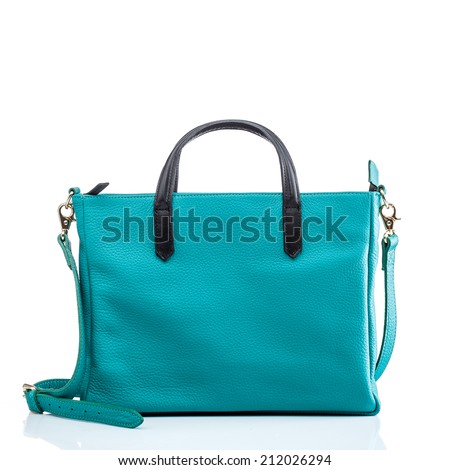green fancy handbag isolated on white - stock photo