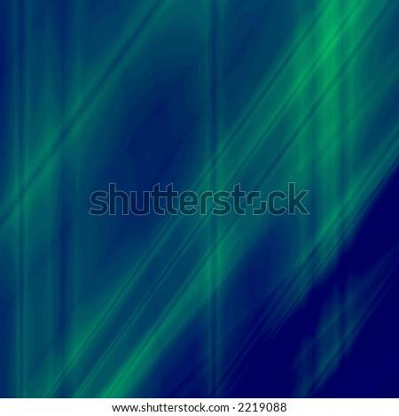 Green fantasy rays on blue background - stock photo