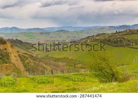 Green farmland cultivated on the rolling hills of the countryside in northern Italy