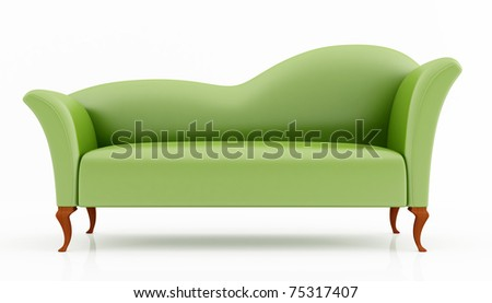 green fashion couch isolated on white - rendering - stock photo