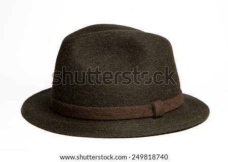 Green fashion hat isolated on white background - stock photo