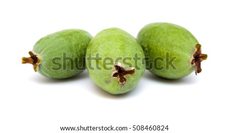 green feijoa fruit isolated on white background