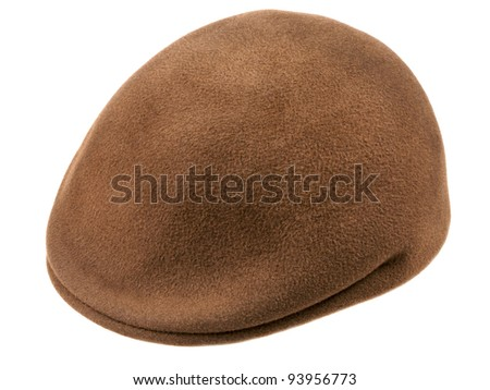 green felt man's cap isolated on white