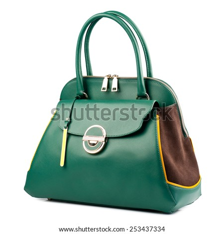 Green female leather handbag isolated on white background.  - stock photo