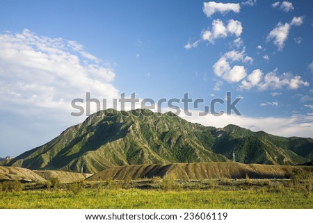 Green field against a background of mountains