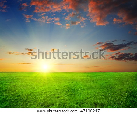 green field and beautiful sunset