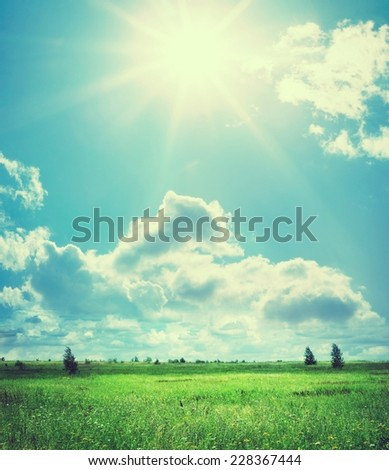 Green field and blue sky. Retro stale. - stock photo