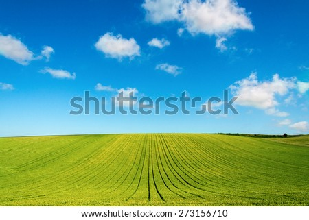 green field and blue sky with clouds in Picardy, France, Europe