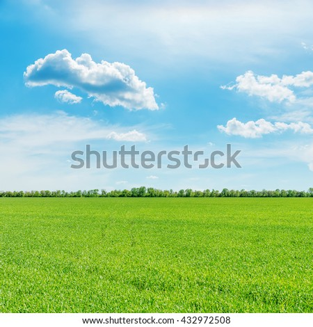 green field and clouds in blue sky - stock photo
