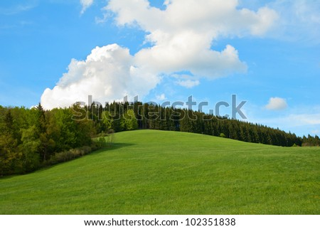 Green Field and forest Hill with blue sky - stock photo