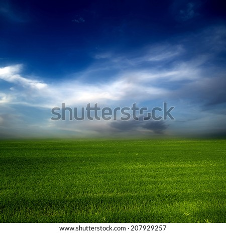 green field blue sky nature background.