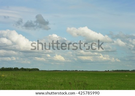 Green field, blue sky with clouds. Summer rural landscape - stock photo