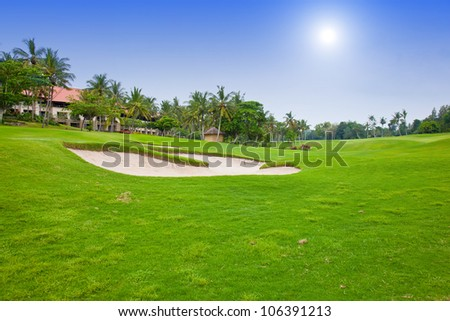 Green field for golf near hotel