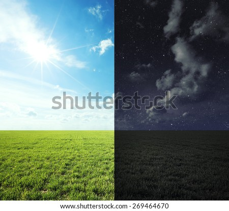 Green field in day and night. - stock photo