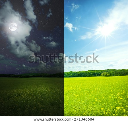 Green field in day and night. Elements of this image furnished by NASA - stock photo