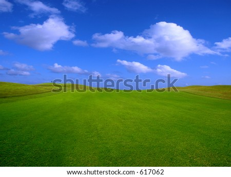 green field in Porto Santo Island - stock photo