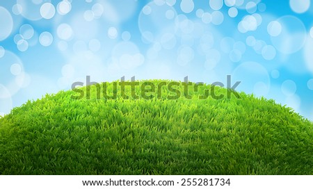green field of fresh grass. natural easter background with place - stock photo