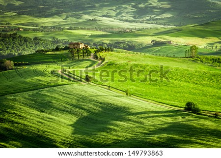 Green fields and meadows in Italy
