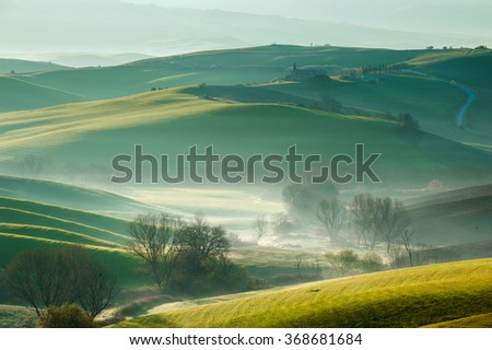 Green fields in spring day in Tuscany, Italy - stock photo
