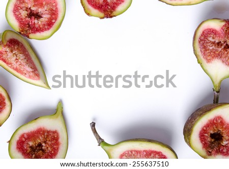 Green fig on a white background