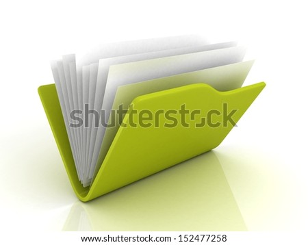green file office folder with paper documents - stock photo