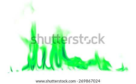 Green fire and flames on white background.