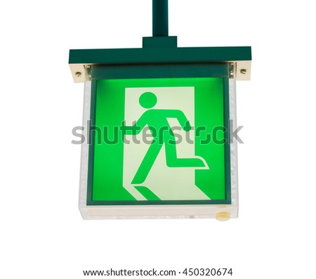 Green fire exit sign isolated on white background. Object with clipping path. - stock photo