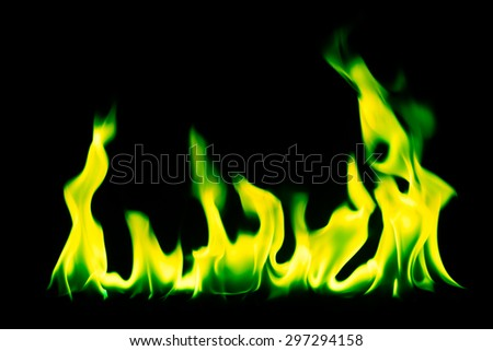 Green fire flames on a black background - stock photo