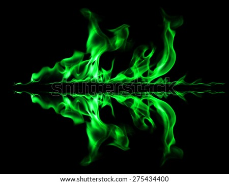 Green fire light smoke abstract shapes on black background