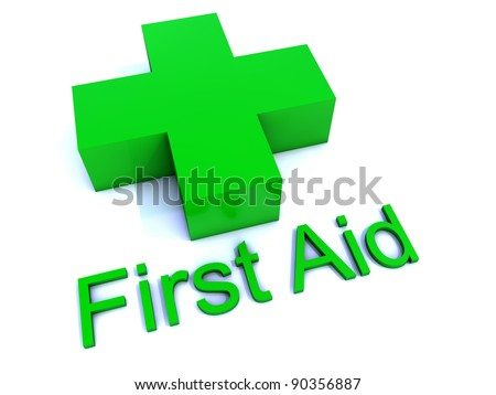 Green First Aid Cross - stock photo