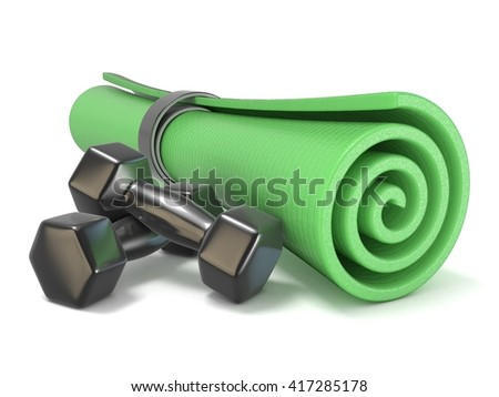 Green fitness mat and black weights. 3D render illustration isolated on white background