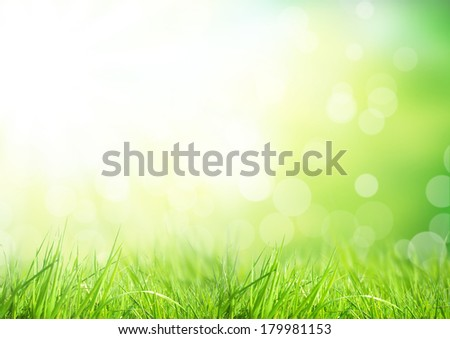 Green floral background with bunch of grass and shimmering spot lights