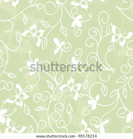 green floral illustration with butterflies - stock photo