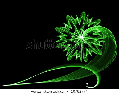 green flower style smoke line ornament element