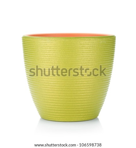 Green flowerpot. Isolated on white background