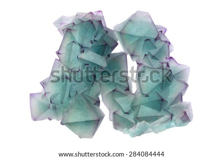 Green fluorite with purple edges from China.  - stock photo