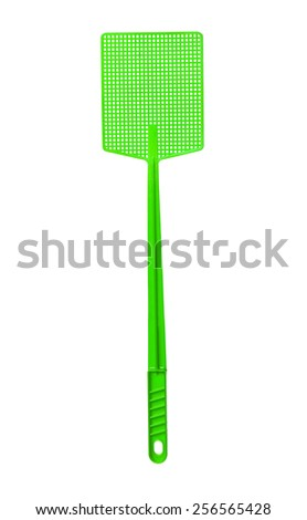 Green Flyswatter isolated on white background - stock photo