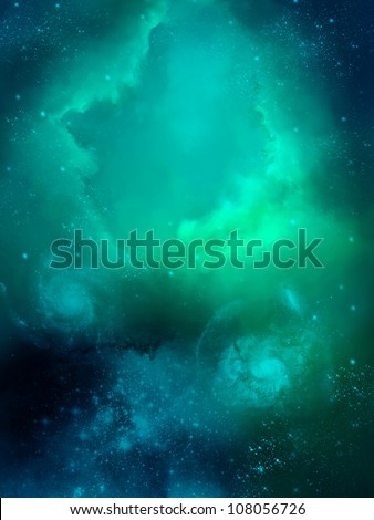 green fog space star-field nebula and planet