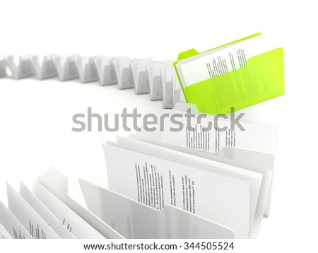 Green folder in a row isolated on white background - stock photo