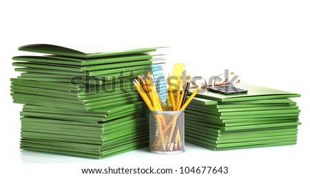 Green folders isolated on white