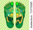 green foot, symbolic for foot reflexology - stock photo