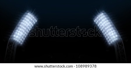 Green football ground against the sky - stock photo